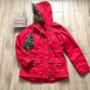 H&M Quilted LOGG Red Coat Hood Anorak Jacket